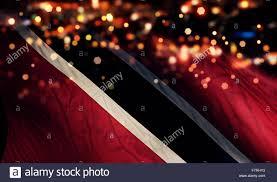 Flag For Trinidad And Tobago Trinidad And Tobago National Flag Light Night Bokeh Abstract Stock