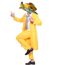 the mask costume jim carrey the mask fancy dress costume yellow gangster zoot suit