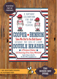 joint baseball birthday party invitation double header