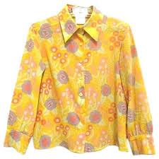 vintage blouse vintage chanel yellow pink orange etc floral print cotton