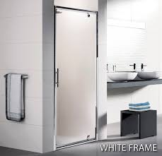 Shower Door 720mm Novellini Lunes G Pivot Shower Door 800 White Finish Lunesg72 1d
