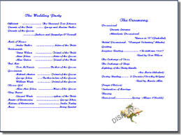 christian wedding program wedding program template order form