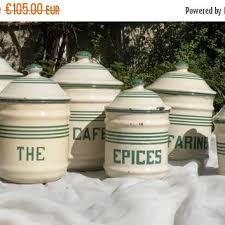 enamel kitchen canisters shop vintage kitchen canisters on wanelo
