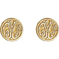 Gold Monogram Earrings 10 Mm 3 Letter Script Monogram Earrings