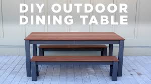 Build Cheap Outdoor Table by Diy Modern Outdoor Table And Benches Youtube