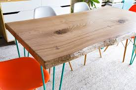 Slab Dining Table by Three Rod Hairpin Leg Slab Dining Table