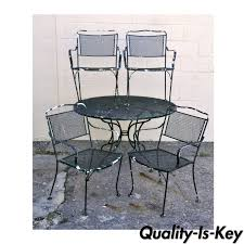 Woodard Vintage Wrought Iron Patio Furniture - vintage wrought iron outdoor patio dining set table 4 chairs