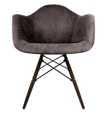 designer cocoa brown velvet fabric eames style accent arm chair