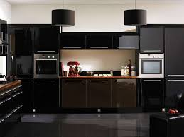 Black Gloss Kitchen Cabinets Fantastic Black Kitchen Decor With Modern Cabinet And White