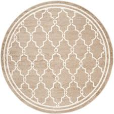 Outdoor Round Rug by Safavieh Amherst Light Gray Ivory 5 Ft X 8 Ft Indoor Outdoor