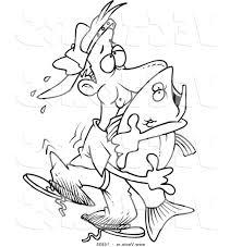 unique vector of cartoon man hugging bass fish coloring page