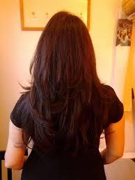 back view of long layered hair v shaped haircut hair pinterest v