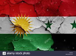 Kurdish Flag Flags Of Iraqi Kurdistan And Syria Painted On Cracked Wall Stock