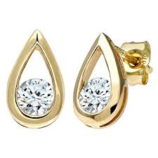 9 carat gold earrings naava women s 9 ct yellow gold half carat diamond teardrop