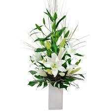 Modern Flower Vase Modern Oriental Lily Flower Arrangement In High Vase With Tropical
