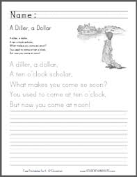 a diller a dollar nursery rhyme two free printable worksheets