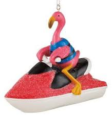 flamingo on jet ski ornament ornaments