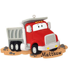 personalized silver and dump truck ornament penned