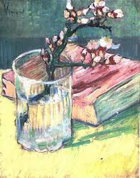 Flowers In A Book - blossoming almond branch in a glass with a book 1888 vincent