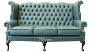 high back sofa chesterfield 3 seater high back wing sofa jade green