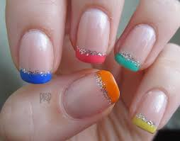 french manicure with different color tips u2013 new super photo nail