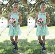 2016 country mint green lace short mini bridesmaid dresses formal