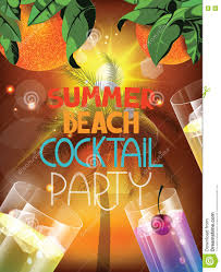 summer beach party vector illustration with glasses of cocktail