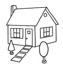 drawing home colorings line art house drawing