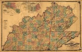 County Map Of Tennessee by New Map Of Kentucky And Tennessee Shades Of Gray And Blue