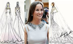 pippa middleton u0027s wedding dress designers sketch their