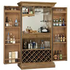 mirrored interior hinged door liquor storage bar cabinet