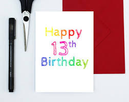 13th birthday card etsy