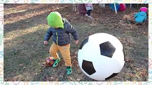 kids playing soccer with a giant ball in backyard youtube