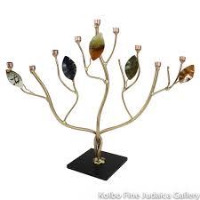 menorah tree of with enamel leaves brass and copper kolbo