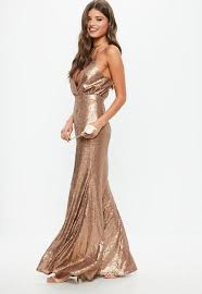 plunge dress bridesmaid copper bridesmaid sequin strappy plunge dress missguided