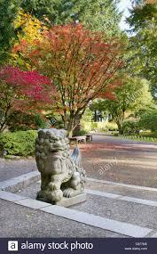 shishi statue shishi lion protector statue in japanese garden in fall