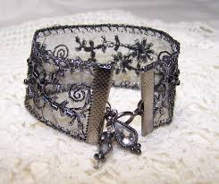 gunmetal beaded ribbon bracelet with charms formal goth steampunk