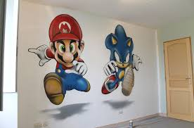 chambre mario déco chambres enfants graffiti