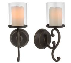 Battery Wall Sconce Lighting Set Of 2 Rubbed Bronze Battery Wall Sconces Candle
