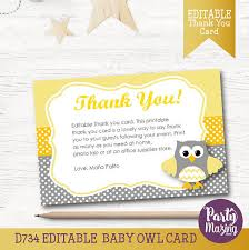 thank you cards for baby shower owl thank you card editable printable cards yellow and grey owl