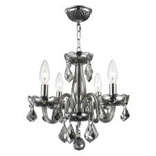 Cristal Chandelier by Worldwide Lighting Clarion Collection 4 Light Polished Chrome