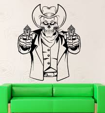 compare prices on skull wall mirror online shopping buy low price skull face man with gun special pattern wall sticker home rooms art unique decor removable wall