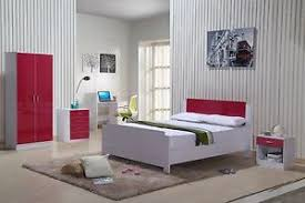 High Gloss Bedroom Furniture Set Red White Wardrobe Chest Drawers - White high gloss bedroom furniture set