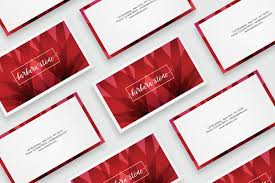 Red Business Cards Business Card Template With Abstract Re Design Bundles