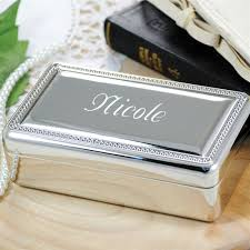 personalized jewelry box beaded silver personalized jewelry box on sale at the wedding