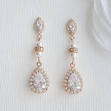 wedding earrings drop drop earrings in gold silver gold bridal wedding formal