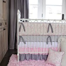 Pink And Black Crib Bedding Sets Pink White Lace Damask Ruffle Crib Bedding Set By Caden