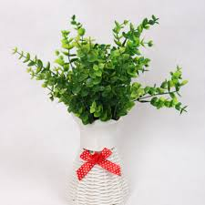 7 branches artificial fake plastic eucalyptus plant flowers green