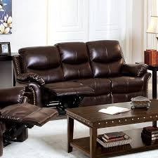 Brown Bonded Leather Sofa Furniture Of America Norfolk Bonded Leather Loveseat With Nailhead