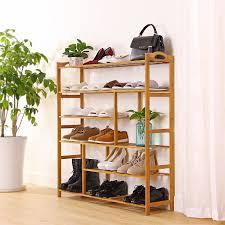 amazon com ollieroo 6 tier natural bamboo shoe rack entryway shoe